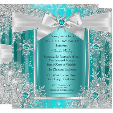 Teal Blue Winter Wonderland Snowflake Silver Bow Card