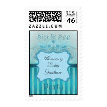 Teal Damask Sip See Baby Shower Postage Stamp