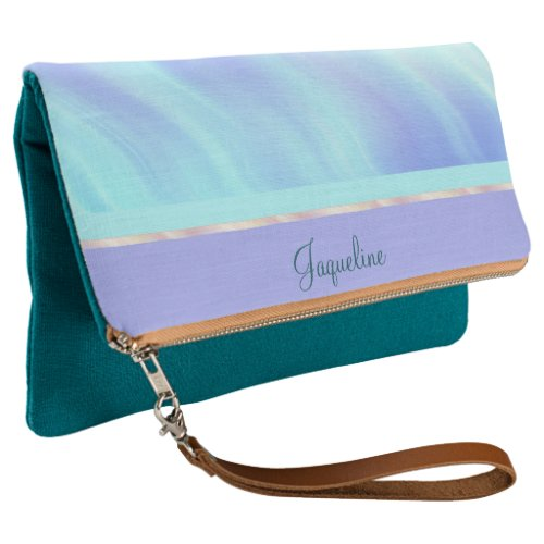 Teal Lavender Rose Waves Clutch