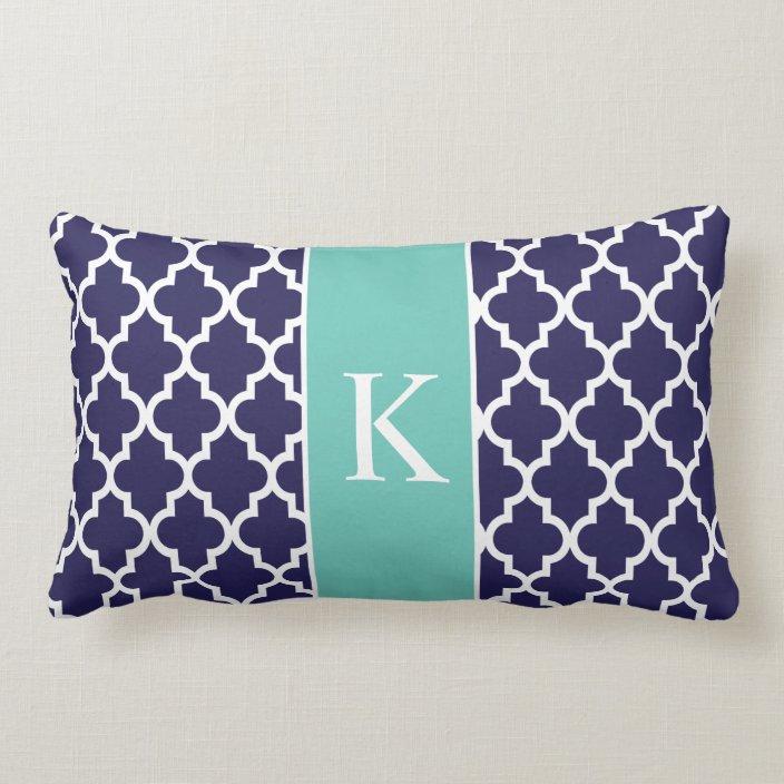 teal navy blue moroccan custom monogram lumbar pillow zazzle com