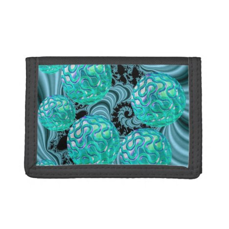 Teal New Beginnings, Abstract Fractal Journey Trifold Wallet