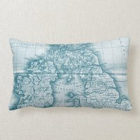 Teal Old World Antique Map Throw Pillow | Zazzle
