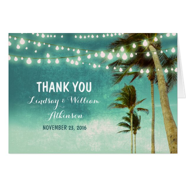 Teal Ombre Beach Wedding Thank You Cards Zazzle Com