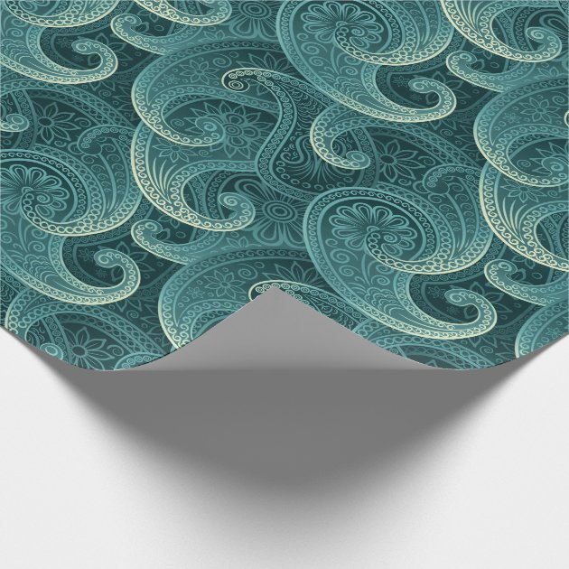 Teal Paisley Timeless Pattern Wrapping Paper  Zazzlecom