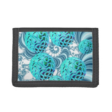 Teal Sea Forest, Abstract Underwater Ocean Tri-fold Wallet