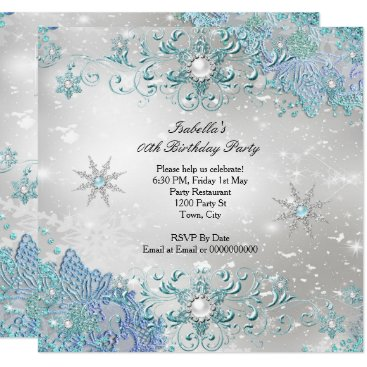 Teal Silver Winter Wonderland Snowflakes Party Invitation