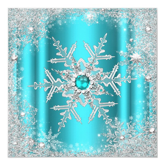 Teal Silver Winter Wonderland Sweet 16 Snowflake Card Zazzle
