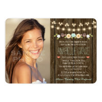 Teal String of Lights Rustic Sweet Sixteen Card
