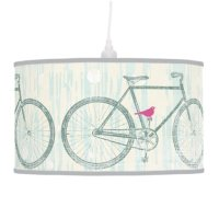 Teal Stylized Vintage Bicycle with Cute Pink Bird Ceiling ...