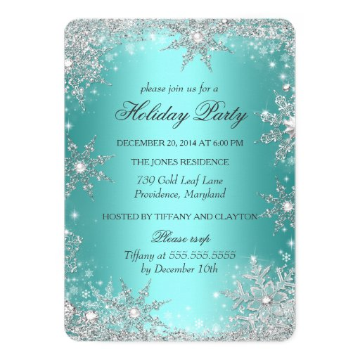 Teal Winter Wonderland Christmas Holiday Party 2 5x7 Paper