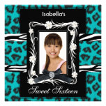 Teal Zebra Leopard Sweet Sixteen 16 Black White Invitation