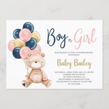 Teddy Bear Gender reveal Invitation