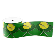 Tennis Ball with Crossed Racquets Ribbon Blank Ribbon