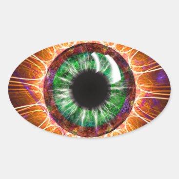 Tesla's Other Eye Fractal Art Oval Sticker