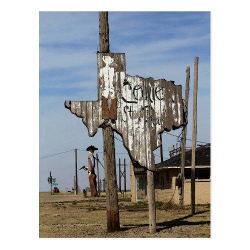 Tex the Cowboy and Texas Sign Postcard