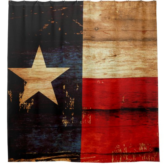 Texas State Flag in Rustic Wooden Grunge Look Shower