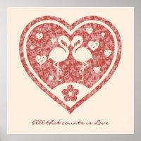 Textured Heart Flamingo Love Poster