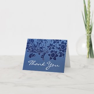 thank you blue elegant note or greeting card