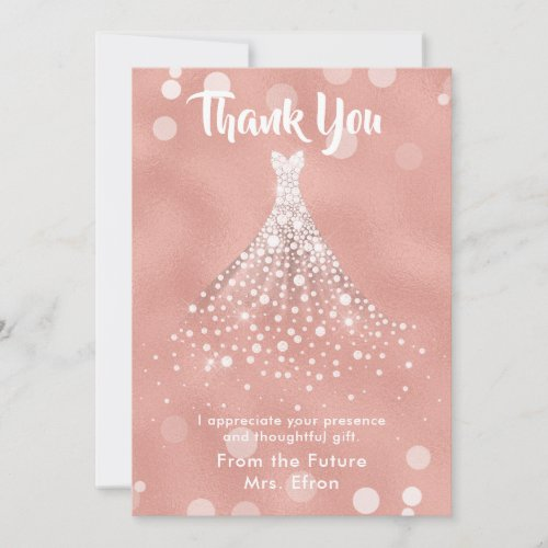 Thank You Bridal Shower Wedding Dress Rose Gold