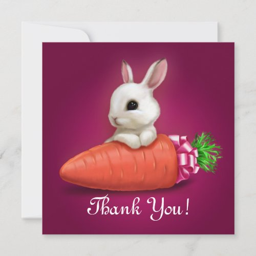 Cute Bunny Thank You Card by Cute and Funny Luxury Greeting Cards