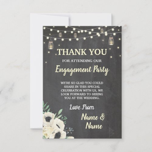 Thank You Card Engagement Fireflies Chalk Floral