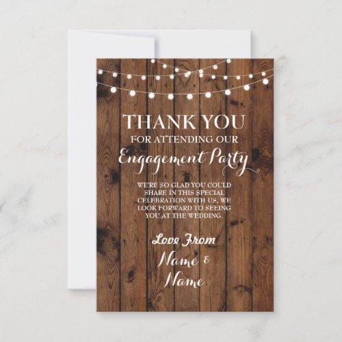 Thank You Card Engagement Wedding Wood Lights