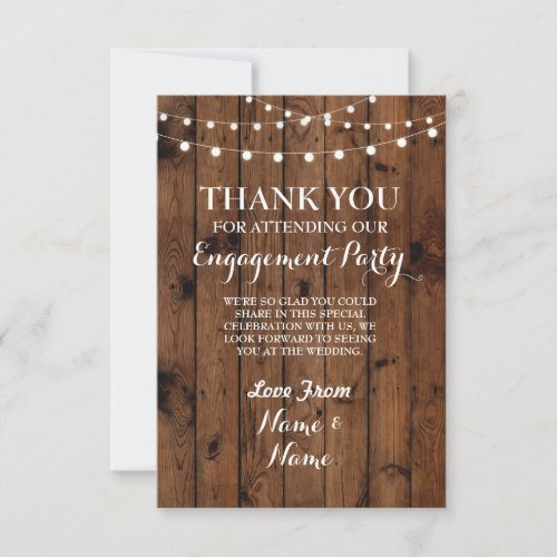 Thank You Card Engagement Wedding Wood Lights