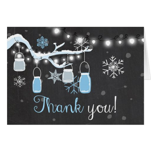 Thank You Card Winter Cold Outside Snowflakes Blue Zazzle