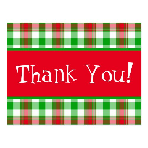 Thank You Christmas Plaid Postcard
