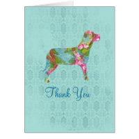 Thank You Dog Animal Pink Watercolor Flower Art Card