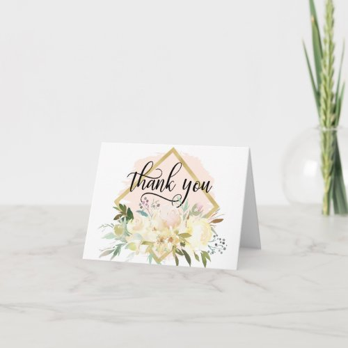 THANK YOU Floral Pink Gold Shower Wedding  | BLANK
