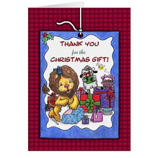 Thank You For Christmas Gift Lion And Lamb Greeting Card