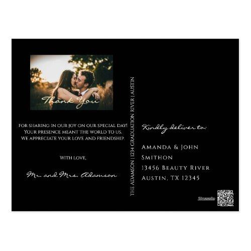 Thank You In Love Wedding Photo Gold Black White Postcard