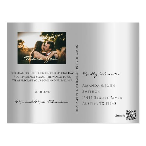 Thank You In Love Wedding Photo Gold Gray Grey Postcard