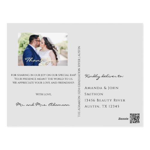 Thank You In Love Wedding Photo Gold Script Gray Postcard