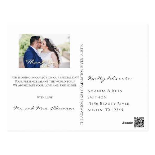 Thank You In Love Wedding Photo Gold Script White Postcard