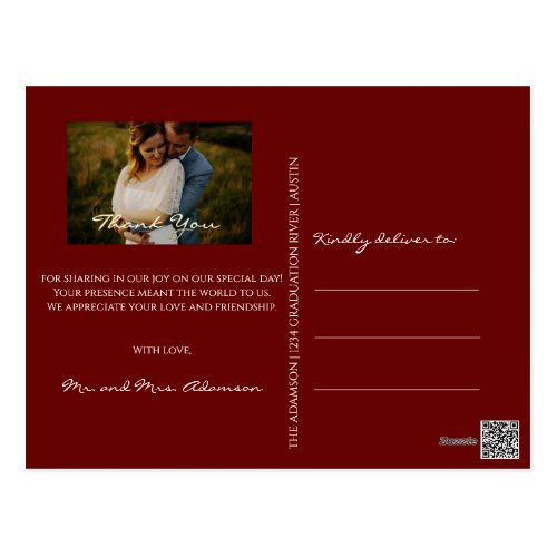 Thank You In Love Wedding Photo Golden Script Glit Postcard