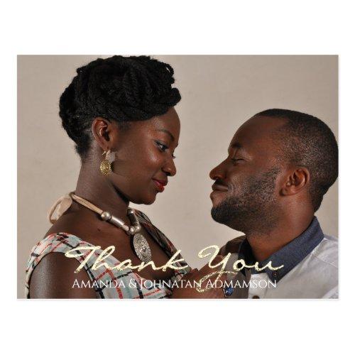 Thank You In Love Wedding Photo Golden Script Gray Postcard