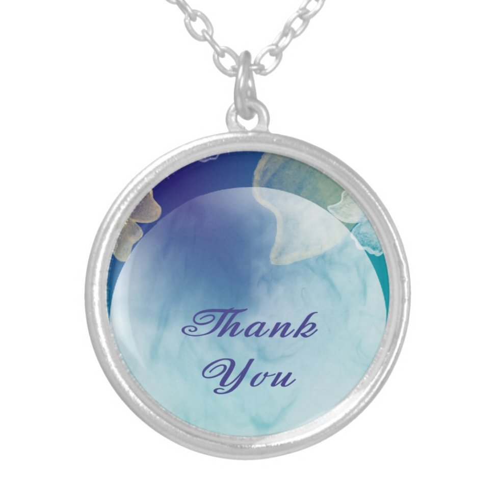 Thank you Many Thanks Moon over Paradise Silver Plated Necklace