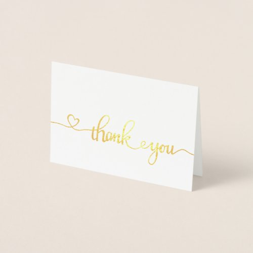 Thank You Note Cards Gold Foil