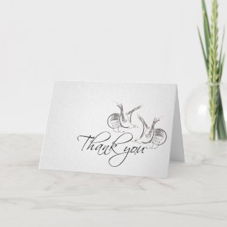 thank you vintage love birds greeting card