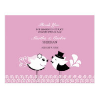 Thank You Wedding Birds Postcard