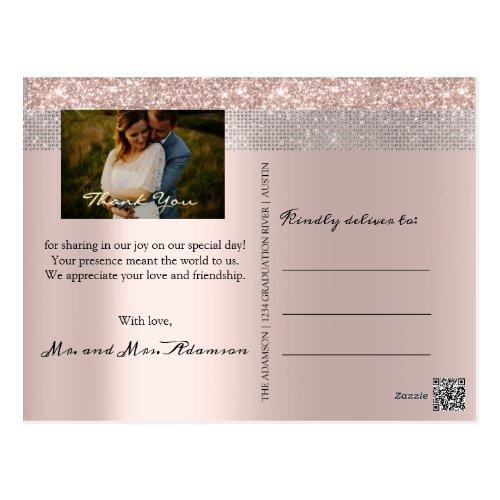 Thank You Wedding Photo Silver Gray Rose Gold Postcard