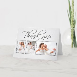 thank you white photos wedding card