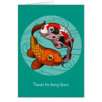 Thanks For Being There Koi Carp Fish Cartoon Card