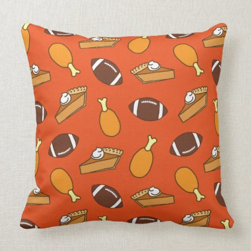 Thanksgiving and Football Throw Pillow