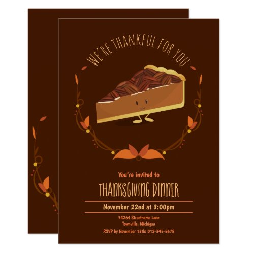 Thanksgiving Holiday Happy Pecan Pie Invitation