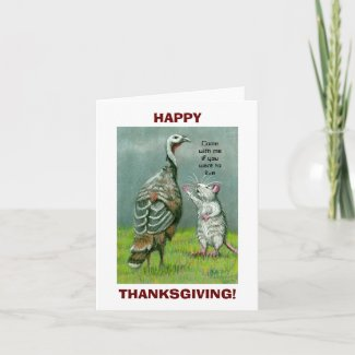 Thanksgiving Note Card funny vegetarian