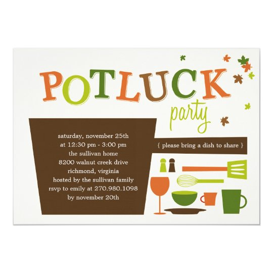 Thanksgiving Potluck Party Invitation Zazzlecom
