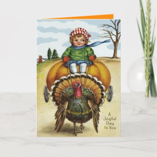 Thanksgiving Turkey Boy Riding Pumpkin Holiday Card
